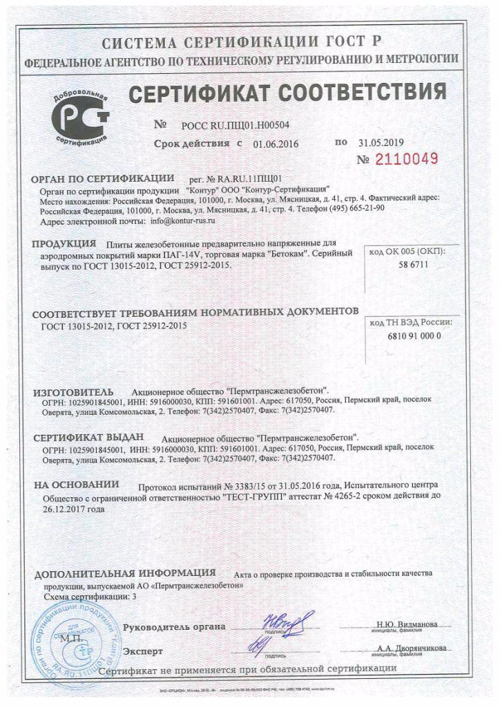 Сертификация железобетонного изделия усиленные дорожные плиты гост